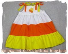 Custom Boutique Clothing Halloween Candy Corn Tiered Twirl  Dress Outfit Set 3 6 9 12 18 24 month size 2T 2 3T 3 4T 4 5T 5 6 7 8. $37.99, via Etsy.