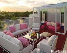 patio design, outdoor living, outdoor rooms, rooftop patio, pink, patios, dream houses, deck, outdoor spaces