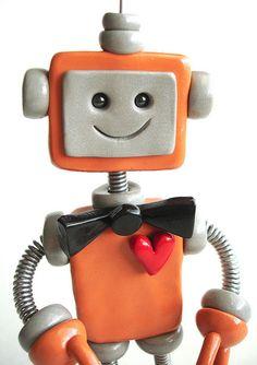 Robot Birthday Cake Topper | Custom Orange Bot by HerArtSheLoves, via Flickr    SO MUCH CUTE!!!