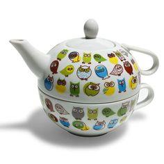 Owl Tea For One Teapot & Saucer.
