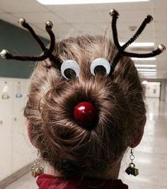 Rudolph holiday hair! - christmas pictures christmas parties, holiday hair, funny pictures, christmas lights, christma hair, christmas sweaters, holidays, hairstyl, teachers