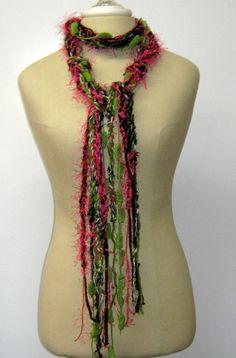 Spring Rose Gypsy Fringe Braids Scarf skinny by PurpleSageDesignz, $ 16.00
