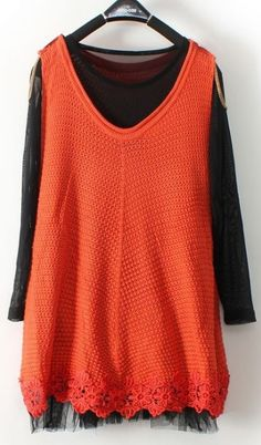 Orange Round Neck Hollow Lace Embroidery Two Pieces Sweater