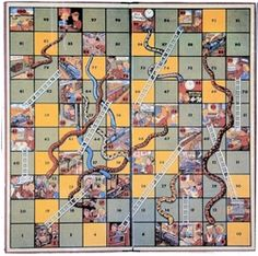 Vintage 1935 Train Snakes & Ladders / Chutes & Ladders - game, games, game board, gameboard, family, children, play, graphics, graphic design