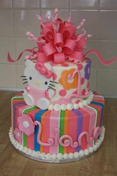 This cake is perfect for Sophie's 4th birthday. Hello Kitty!!!