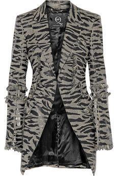 McQ Alexander McQueen Fringed houndstooth wool jacket   THE OUTNET