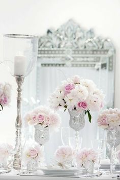 White and silver Centerpieces