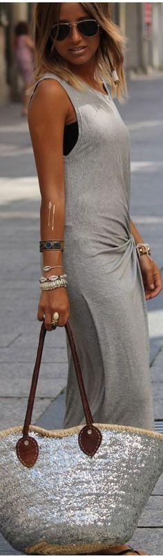 Grey Sleeveless Bodycon Asymmetrical Drape Maxi Dress