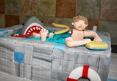 Tallulah's Bakery: Cake Time: Gruesome Shark Attack Swimming Pool Cake!!