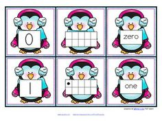 preschool activities, math, 010, ten frames, number 10 preschool, penguin, winter theme, kindergarten, cards
