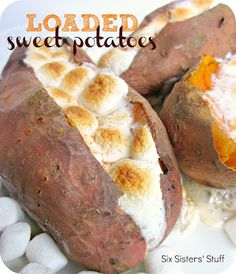Loaded Sweet Potatoes on SixSistersStuff.com - perfect for Thanksgiving!