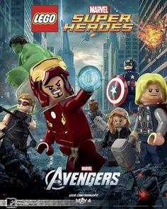 The Avengers poster in LEGO form