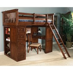 American Spirit Jr. Twin Loft Bed with desk underneath