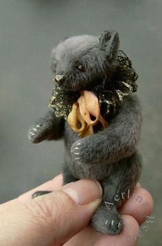 "Miniature 3"" teddy bear by Esther Pepper"
