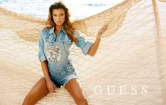 Guess' Blonde Bombshells–Heading to the beach for its spring-summer 2014 campaign, Guess enlists a trio of blonde bombshells for its new advertisements. Models Samantha Hoopes, (who also appears in the spring underwear ads from Guess) Danielle Knudson and Olivia Greenfield get glam on the sand in these images photographed by Yu Tsai. Veronique Droulez worked as stylist for the campaign where the girls model a mix of denim, polka dot prints and white hot lace.