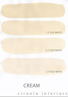 Varying tints possible with Chalk Paint® decorative paint by Annie Sloan. A combination of Cream  Old White by Ciruelo Interiors.