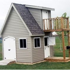 Shed playhouse on pinterest playhouses shed playhouse for Shed and playhouse combo plans