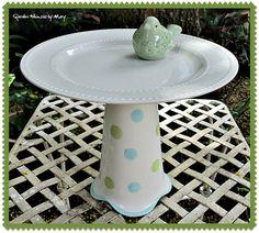 Polka Dot Garden Totem / Dessert Pedestal by GardenWhimsiesByMary