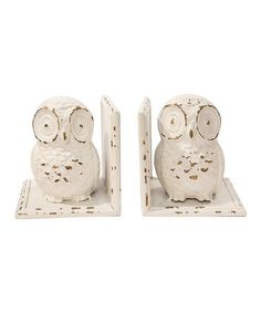 Take a look at this White Owl Bookend Set