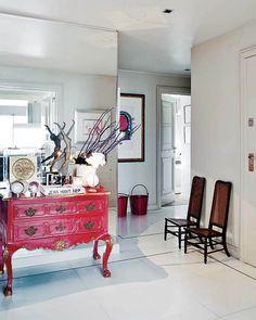 decor, interior, dresser, black white, foyer, mirror wall, hous, lisbon, mirrored walls