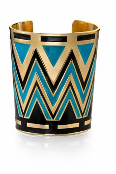 House of Harlow 1960 14KT Gold Tribal Cuff in Turquoise