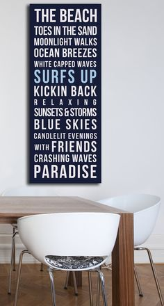 Beach House Wall Art....toes in the sand, moonlight walks,ocean breezes, white capped waves, surfs up