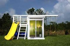 Modern playhouse with swing