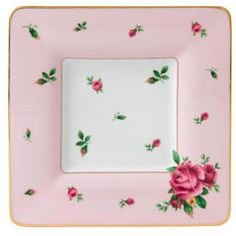 Royal Albert   New Country Roses Pink Square Trinket Tray     Youthful and exuberant, this Square Trinket Tray makes a beautiful addition to a vanity or desk, and is rendered in fine bone china with intricate detailing, vibrant colors and a lustrous gold rim.