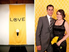 Photobooth backdrop that matches and adds to the reception decor.