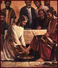 Jesus washing Disciples feet. Ashley when I was a little girl I would attend church with Grandma Adams. They would do the washing of the feet from time to time. I so miss her. She was Primitive Baptist.