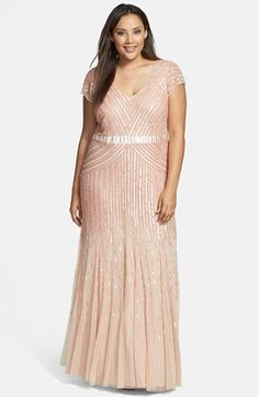 Adrianna Papell Embellished Mesh Gown (Plus Size) | Nordstrom