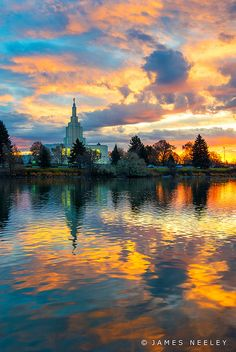 Sunrise over the LDS Temple and Snake River, Idaho