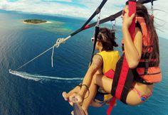 Parasailing over Fiji