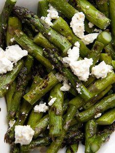 Grilled asparagus   feta   lemon zest   olive oil- summer side