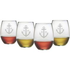 Personalized Anchor Stemless Wine Glass (Set of 4). Intials ahoi, captain. #boat