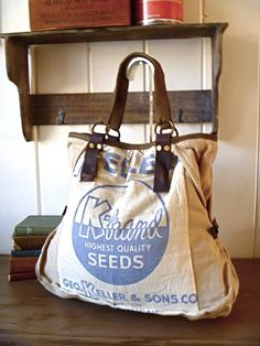Big bag made out of a feedsack- inspiration for pillows made from cloth rice bags