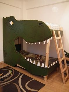 Dino bunk beds! Just adding for the dino lovers out there.  Pinned for Kidfolio, the parenting mobile app that makes sharing a snap.