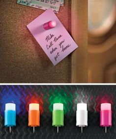 LED Pushpins for our family bulletin board.  How cool are these?