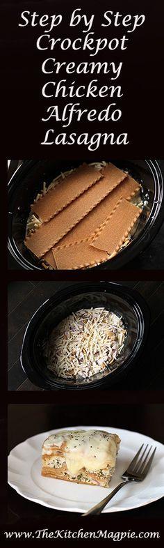 Step by Step Creamy Crockpot Chicken Alfredo Lasagna | @Kara Esser Nelson Johnston: The Kitchen Magpie