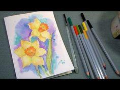 ▶ daffodil watercolor pencil tutorial - YouTube