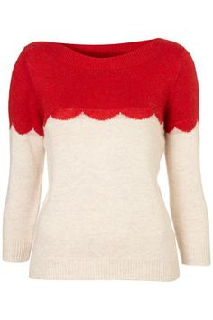red scallop sweater fashion, red, style, colors, jumpers, christmas sweaters, scallop, dressing up, topshop