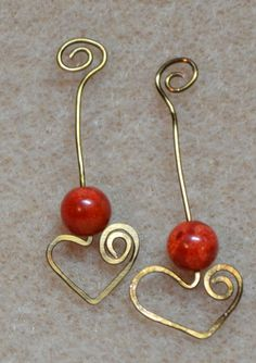Hammered wire hearts with stone beads.