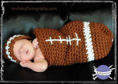 Crochet Pattern FOOTBALL Baby Cocoon and Hat Set Photography Prop. $4.50, via Etsy.