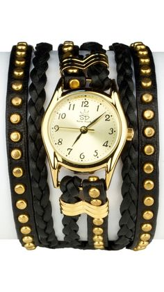 Studded Leather Wrap Watch by Sara Designs