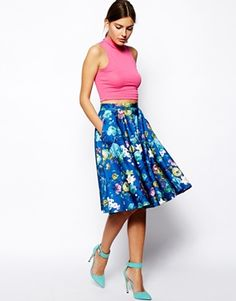 Image 1 of ASOS Floral Midi Skirt In Scuba