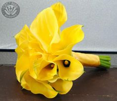 yellow calla lily bouquet created by Lovely Bridal Blooms