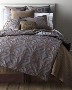 King Four-Piece Micah Comforter Set - traditional - duvet covers - Horchow comfort set, beds, mirrored furniture, comforter sets, bed linens, micah, art deco, bedding sets, neiman marcus