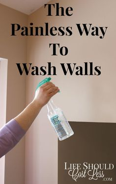 "The Painless Way To Wash Walls. This time-saving tip will save you a ton of time AND headache. It's especially helpful if you have tall walls or vaulted ceilings One of our all time most popular pins!. See full cleaning tutorial & other awesome DIY tips at <a href=""http://lifeshouldcostless.com"" rel=""nofollow"" target=""_blank"">lifeshouldcostles...</a>"