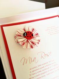 Ladybug christening invitation, Gaia Creative Shop