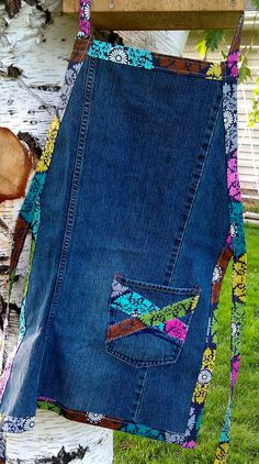 Items similar to Denim Apron - with modern, colorful accents on Etsy